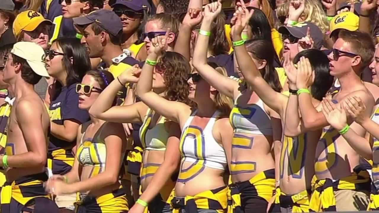 UC Berkeley fans cheering on the Cal football team during the game at Memorial Stadium against UCLA Saturday.