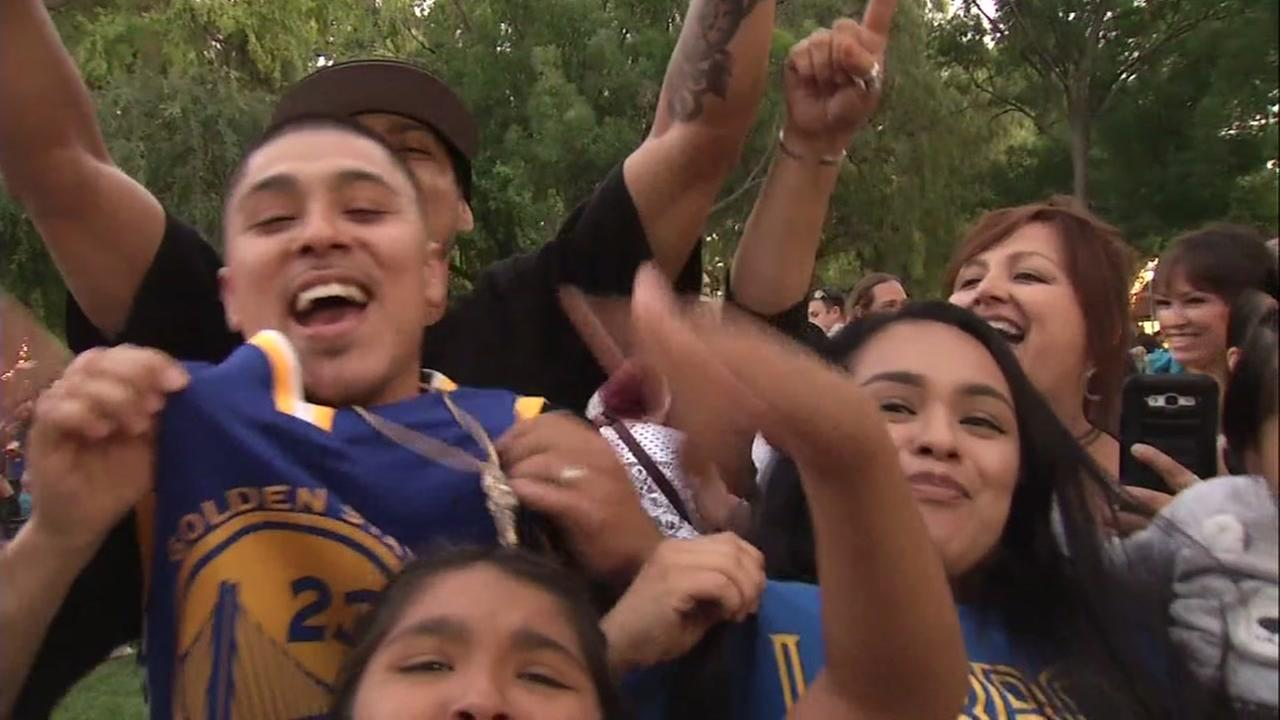 Warriors fans celebrate an NBA finals win in Concord, Calif. on Friday, June 8, 2018.