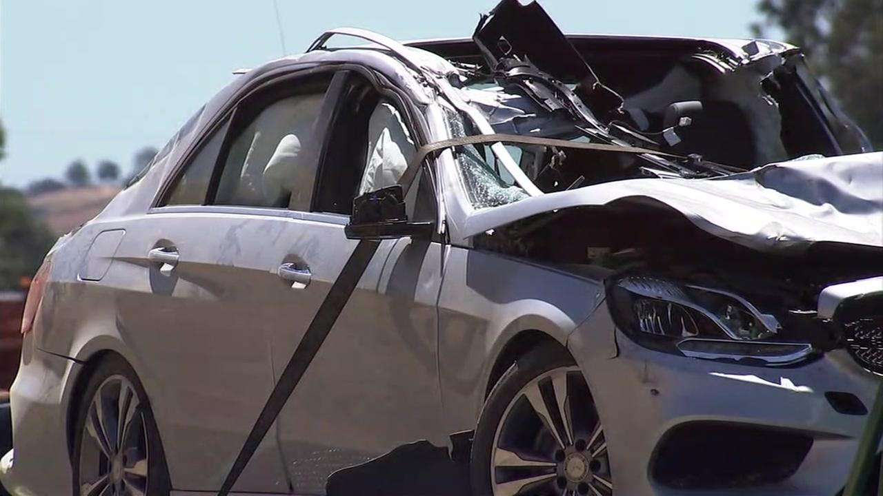 A Mercedes sedan is seen after a fatal crash in Danville, Calif. on Monday, June 11, 2018.