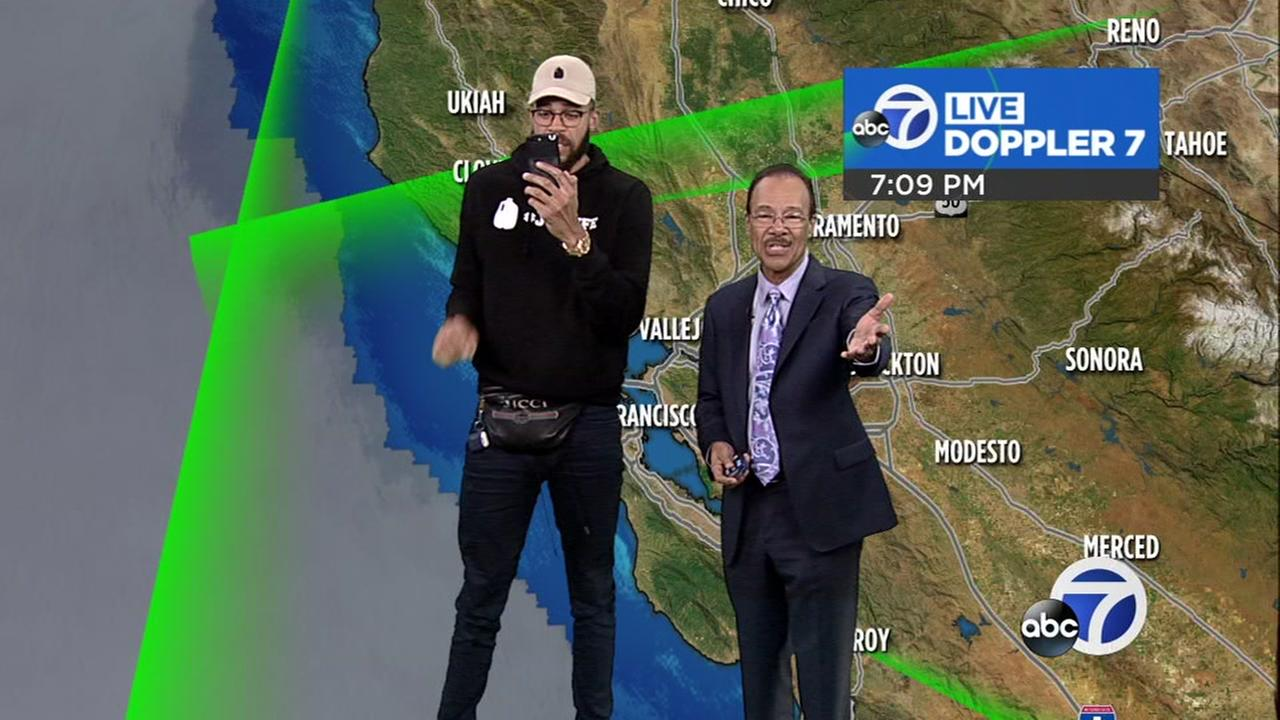 JaVale McGee does the weather at ABC7