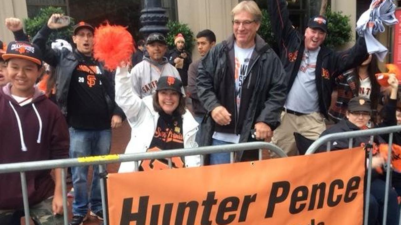 San Francisco Giants fans on Market Street.