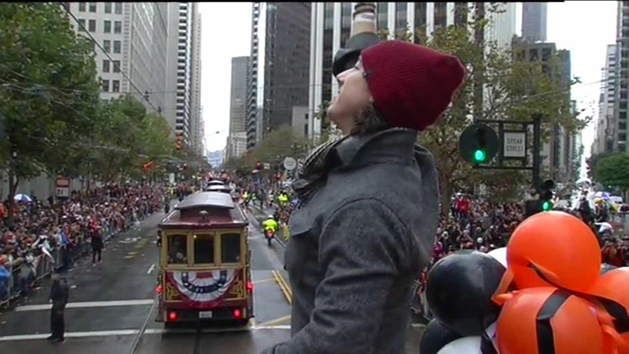 Tim Lincecum at the San Francisco Giants World Series parade.