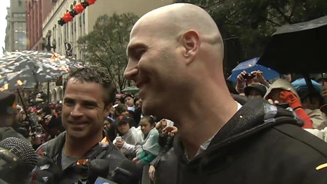 San Francisco Giants pitcher Tim Hudson at the World Series parade.