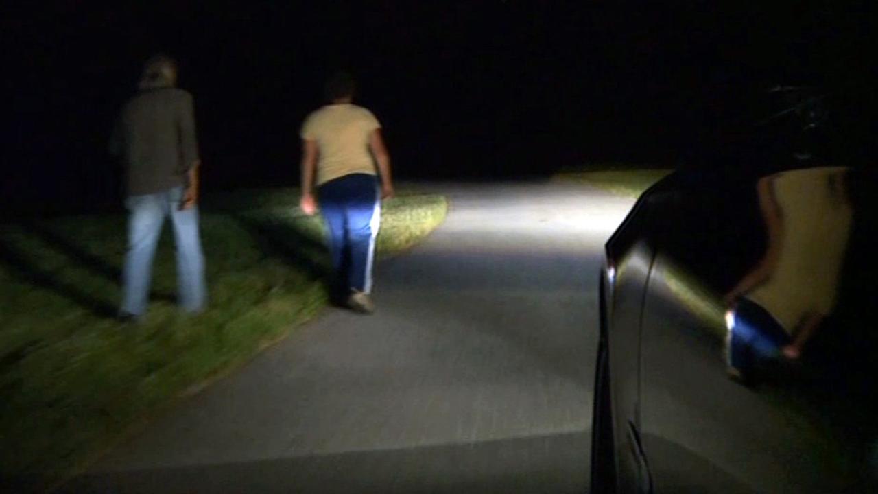 Drive in car on dark street