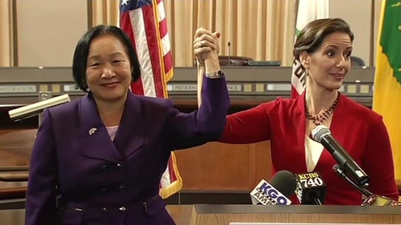 Mayor Jean Quan and Mayor-Elect Libby Schaaf
