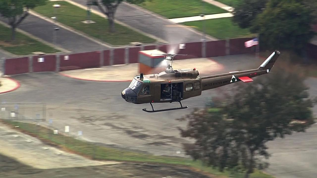A military helicopter was part of the Veterans Day parade festivities in Antioch on Tuesday.