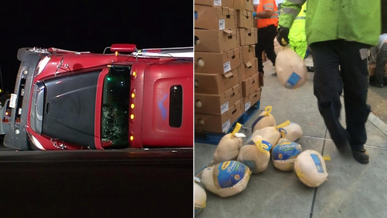 A big-rig carrying 45,000 pounds of frozen turkeys spilled in San Ramon.