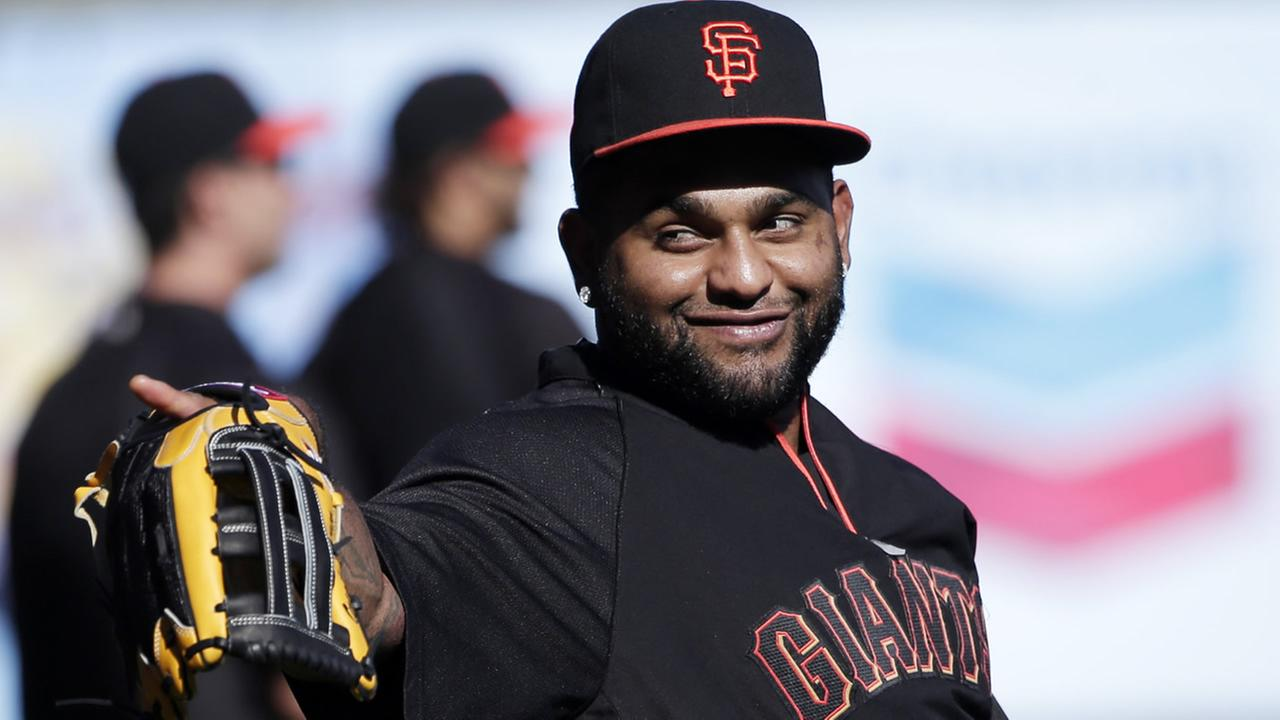San Francisco Giants Pablo Sandoval gestures during a team workout on Monday, Oct. 13, 2014, in San Francisco. (AP Photo/Marcio Jose Sanchez)