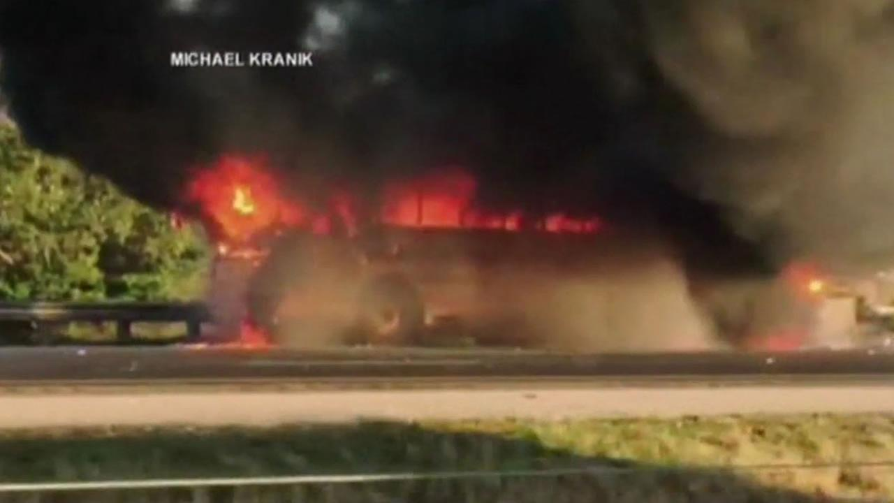 A Florida community is hailing a school bus driver as a hero after she safely got nearly 40 kids off her burning bus.