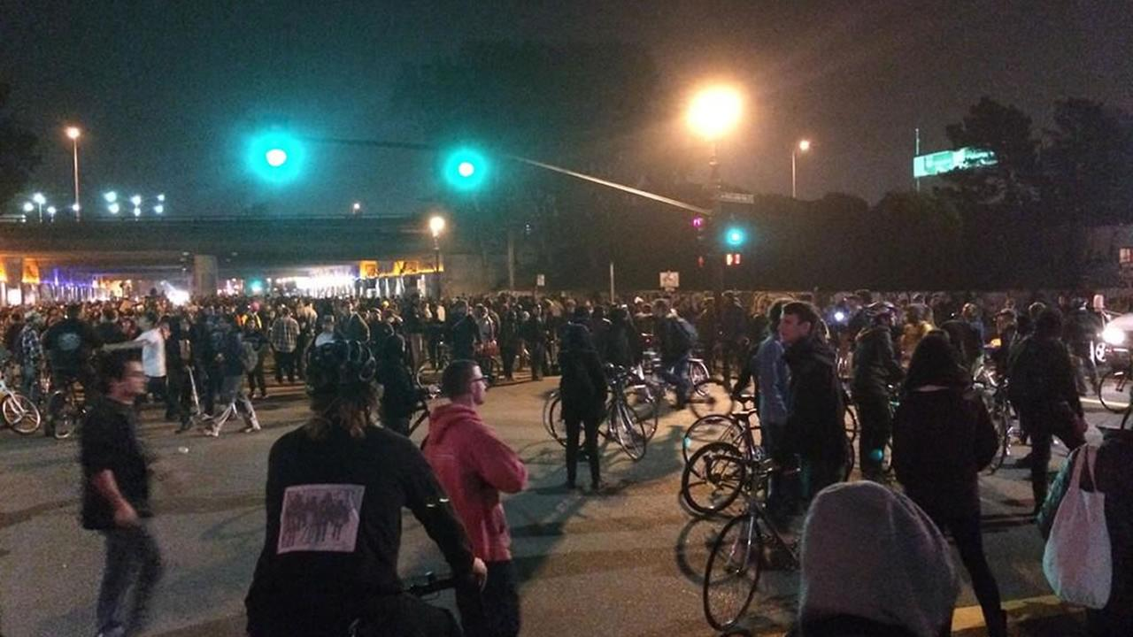 Protesters have marched from Berkeley to the MacArthur BART station in Oakland Tuesday night.