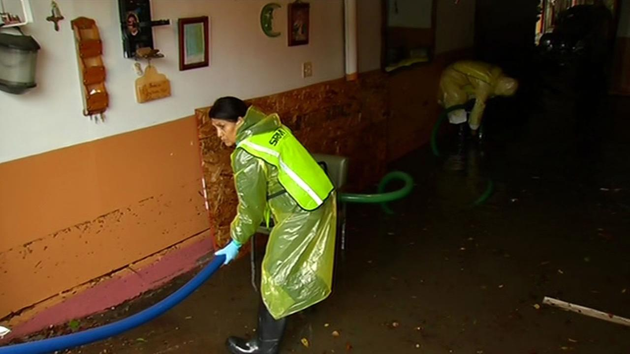 Flooding in homes along 17th and Folsom Streets in San Francisco.