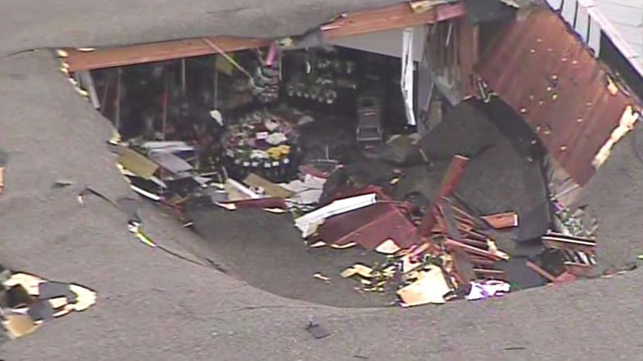 The roof of a Safeway store in San Jose collapsed during the storm on Thursday.