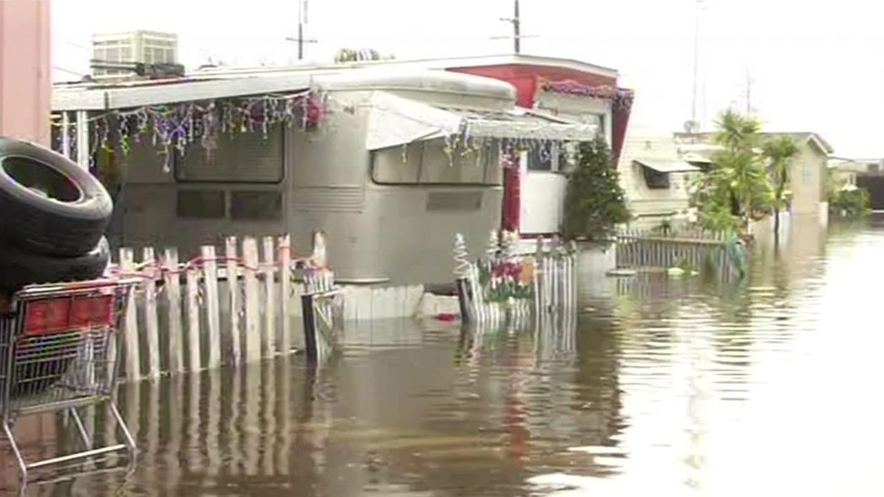 Flood water forces mobile home residents on the Peninsula out of their property