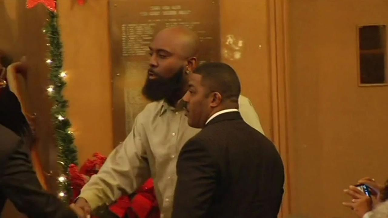 Michael Browns father arriving at the Third Baptist Church in San Francisco Sunday.