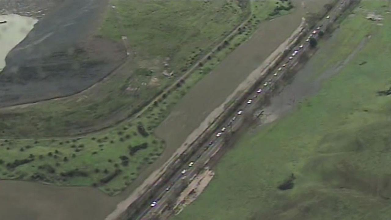 A mudslide closed Hwy 84 in Fremont for part of the Wednesday morning commute.