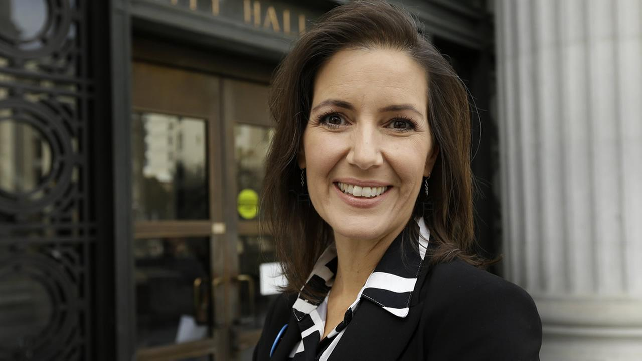 Oakland City Council member Libby Schaaf is seen outside City Hall Monday, Oct. 27, 2014, in Oakland, Calif.(AP Photo/Ben Margot)
