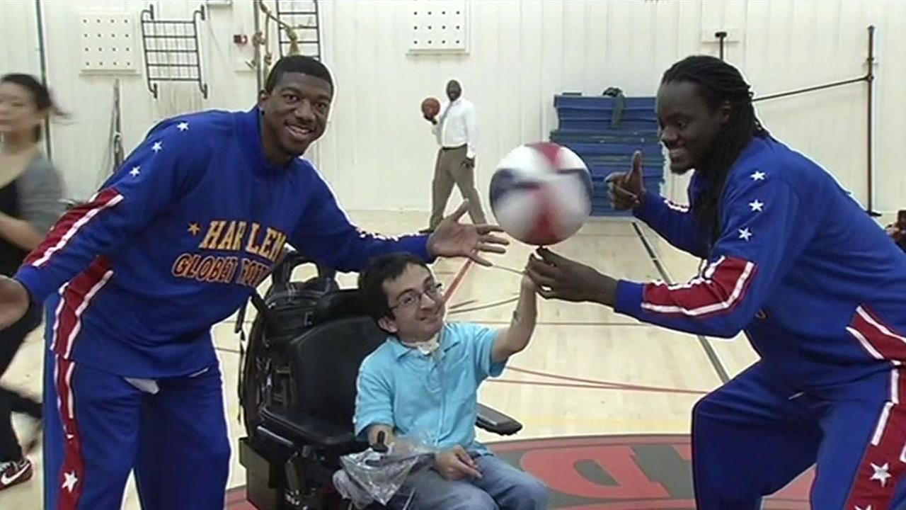 The Harlem Globetrotters combine their skills and comedy on the court but on Wednesday they were all about compassion and stepping into another, well, wheelchair.