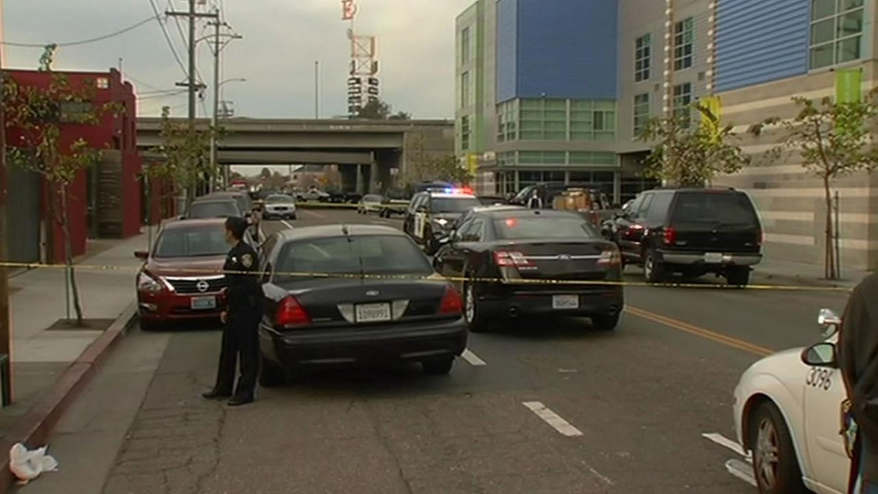 Cop cars surround a shooting scene in Emeryville