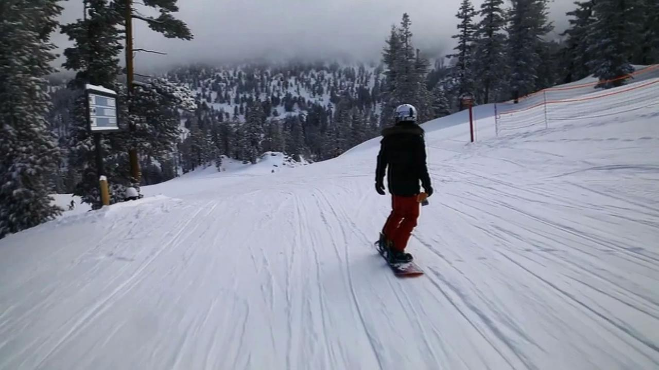 Skiers and snowboarders are taking advantage of the snow finally falling in the Sierra.