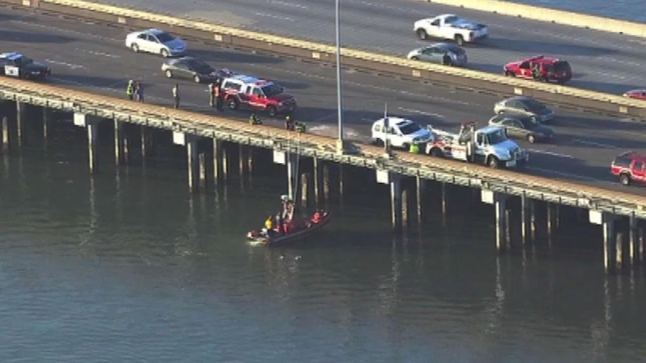 crash scene on the San Mateo Bridge