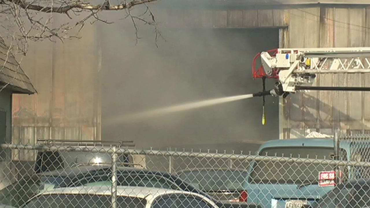 Two auto businesses were destroyed in a fire in San Jose Saturday.