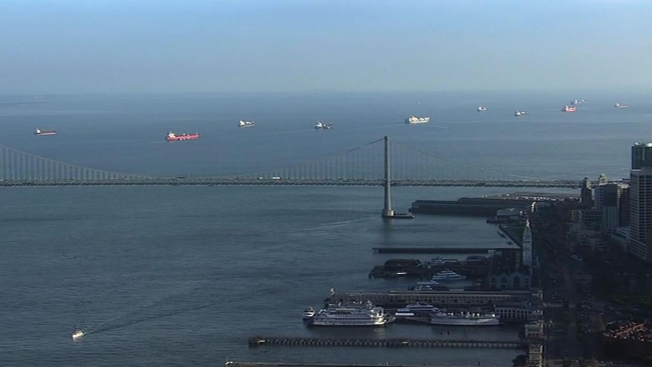ships waiting in the San Francisco Bay
