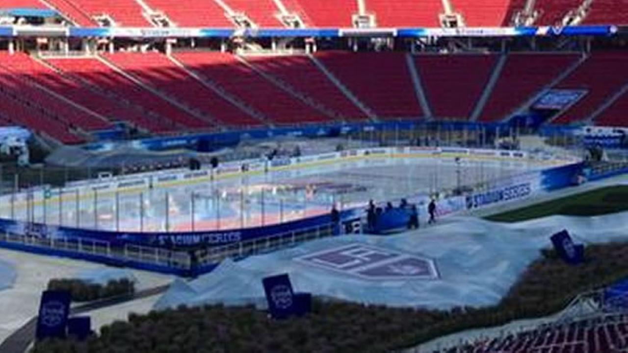Hockey fans stream into Levis Stadium to see the The San Jose Sharks take on the Los Angeles Kings outdoors.
