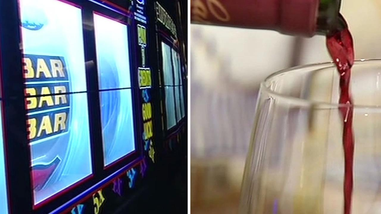 Image of a casino slot machine and a glass with wine being poured.