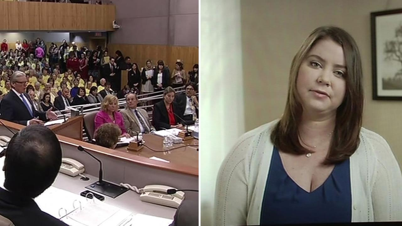 Brittany Maynard gives testimony in Sacramento supporting death with dignity bill