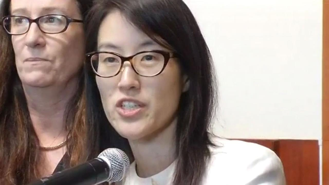 Ellen Pao speaks to the media at the Civic Center Courthouse in San Francisco, Friday, March 27, 2015.