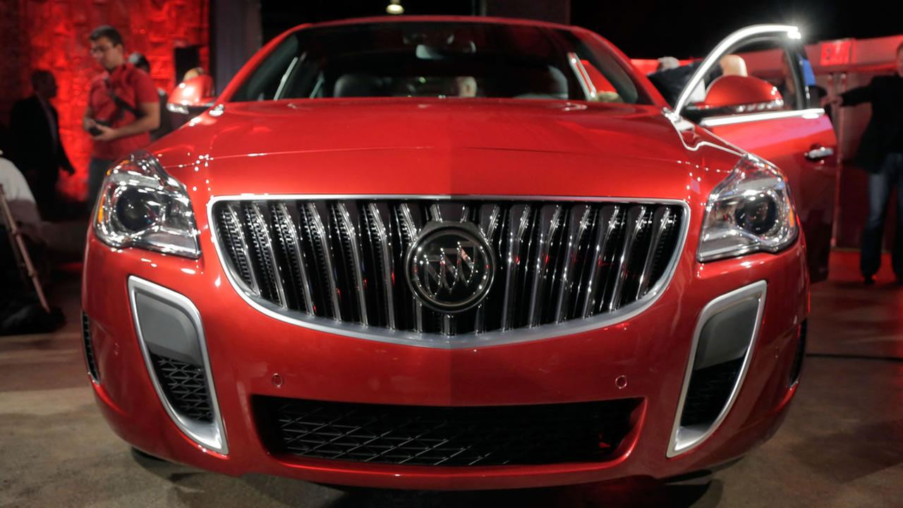 The 2014 Buick Regal GS, is displayed during its introduction prior to the New York International Auto Show, in New York, Tuesday, March 26, 2013. (AP Photo/Richard Drew)