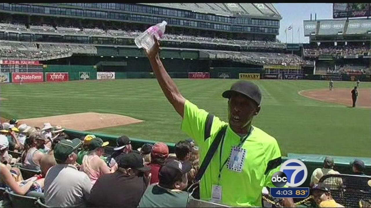 As fans try to keep cool during game in Oakland
