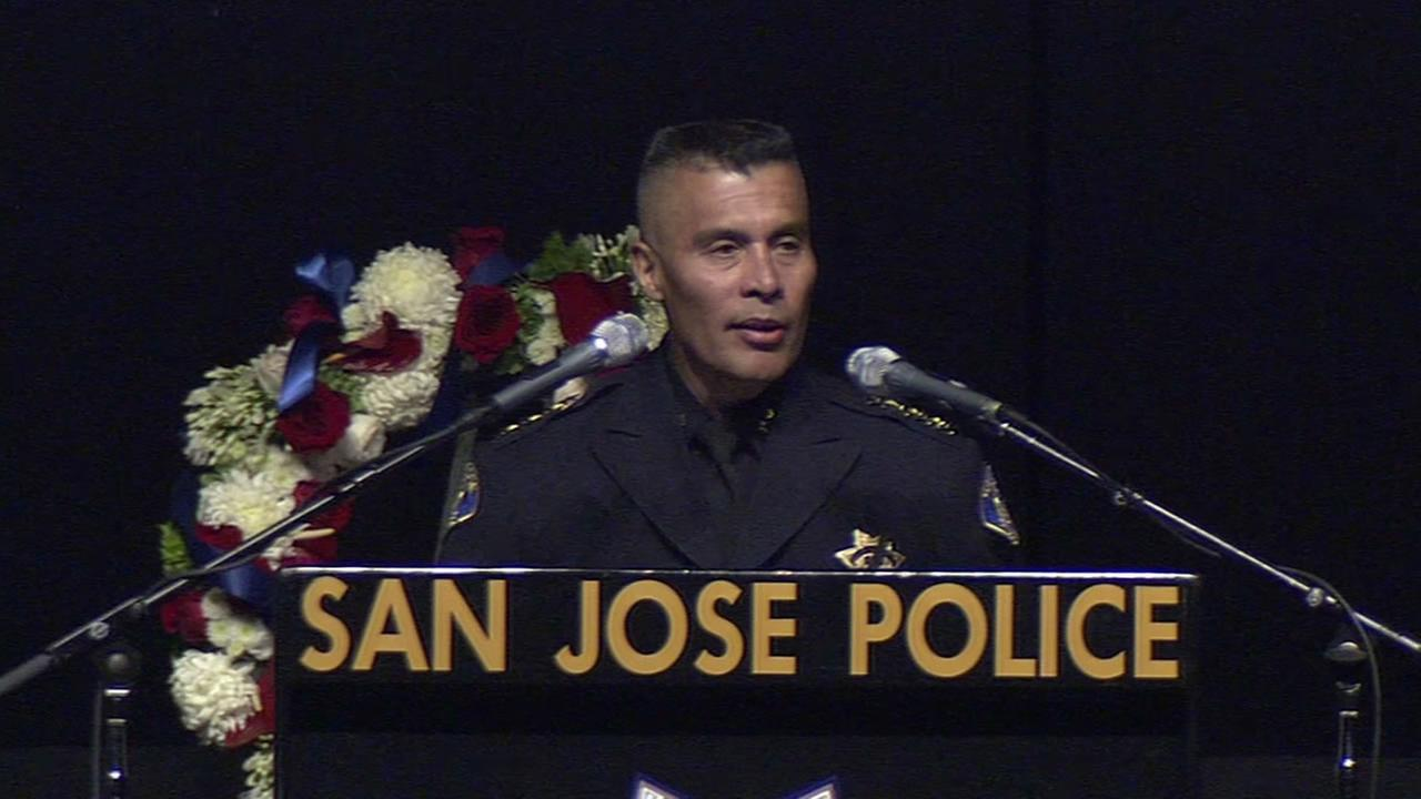 San Jose Police Chief Larry Esquivel speaking at Officer Johnsons memorial service.