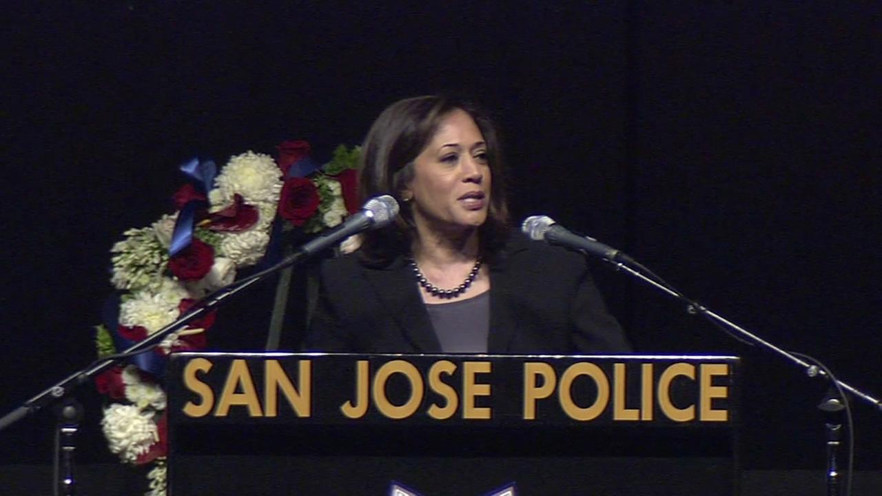 California Attorney General Kamala Harris spoke at San Jose Police Officer Michael Johnsons memorial service.