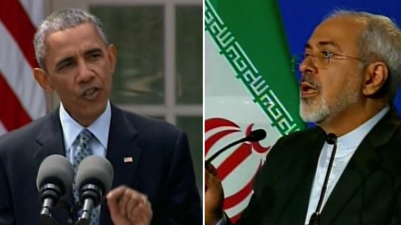 President Barack Obama and the Foreign Minister of Iran, Mohammed Javad Zarif.