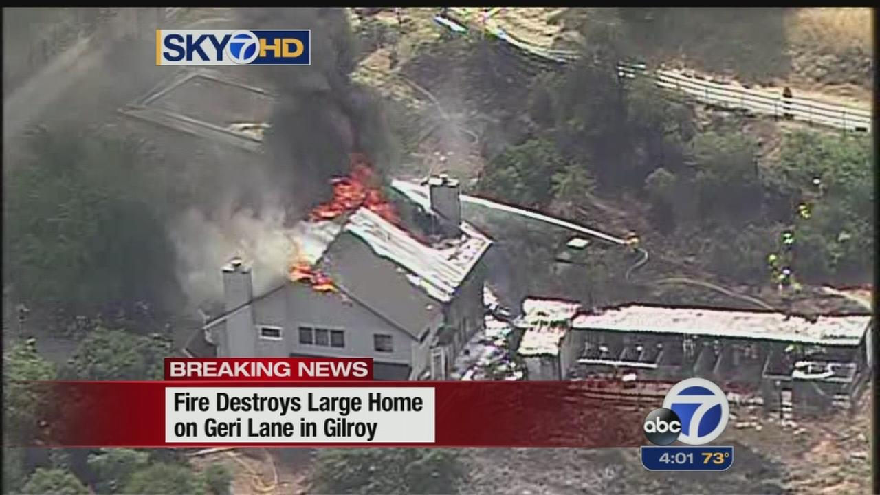Fire destroys two-story home in Gilroy
