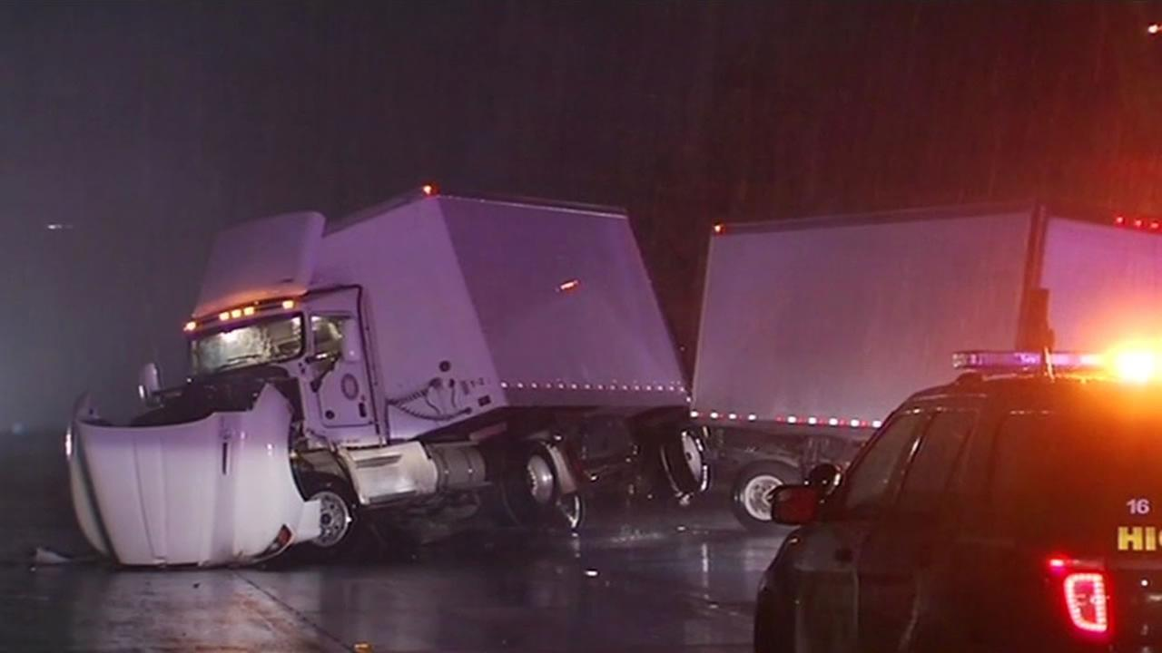 A big rig jackknifed during the rain on I-680 in Fremont.