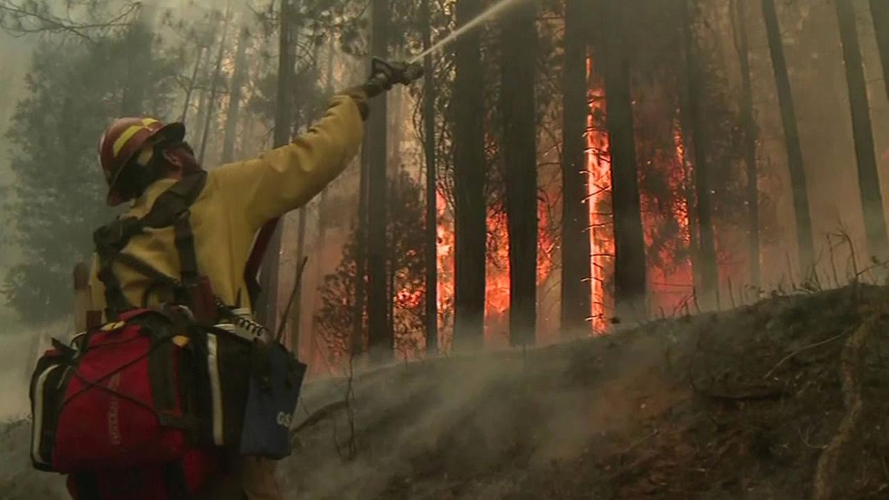 firefighter fighting a wildfire