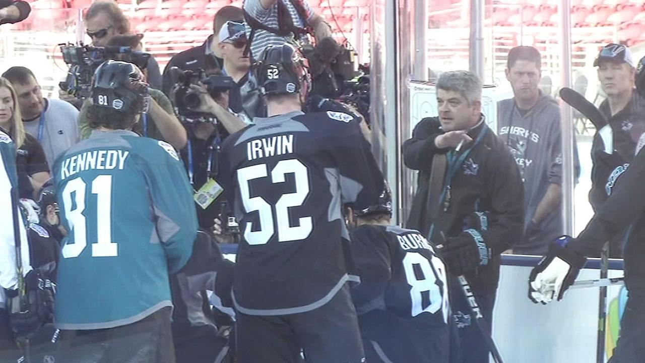 San Jose Sharks players and head coach Todd McLellan