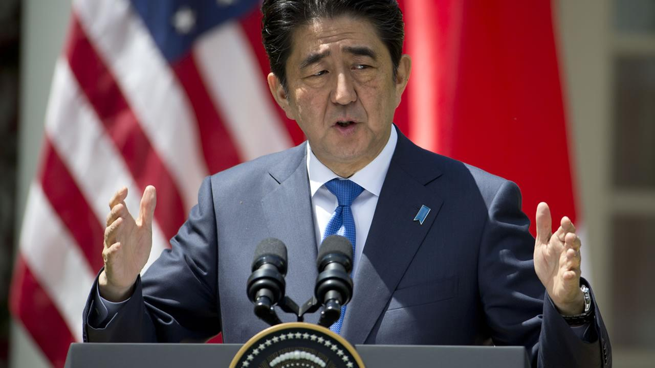 Japanese Prime Minister Shinzo Abe speaks during a news conference with President Barack Obama, Tuesday, April 28, 2015, at the White House in Washington. (AP Photo)
