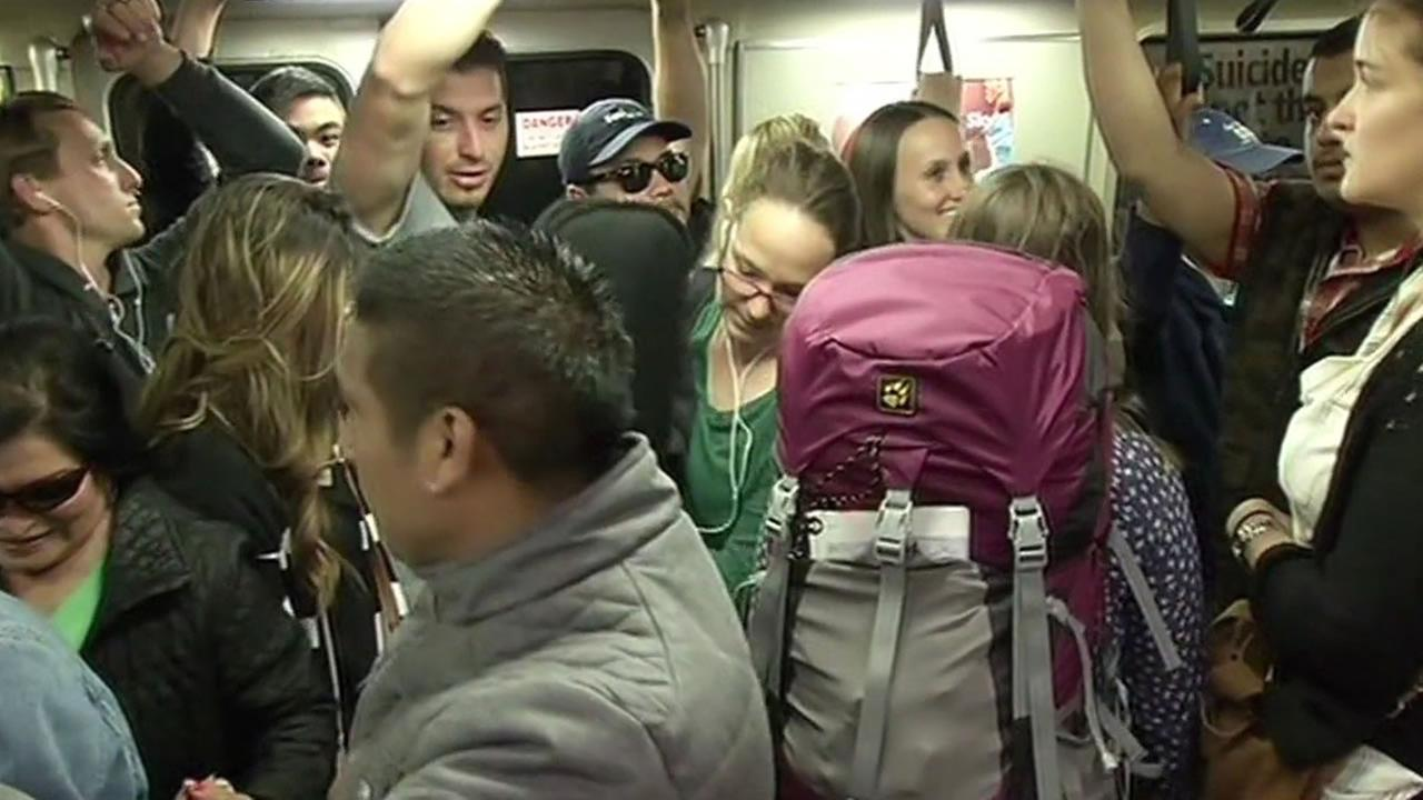 packed BART train