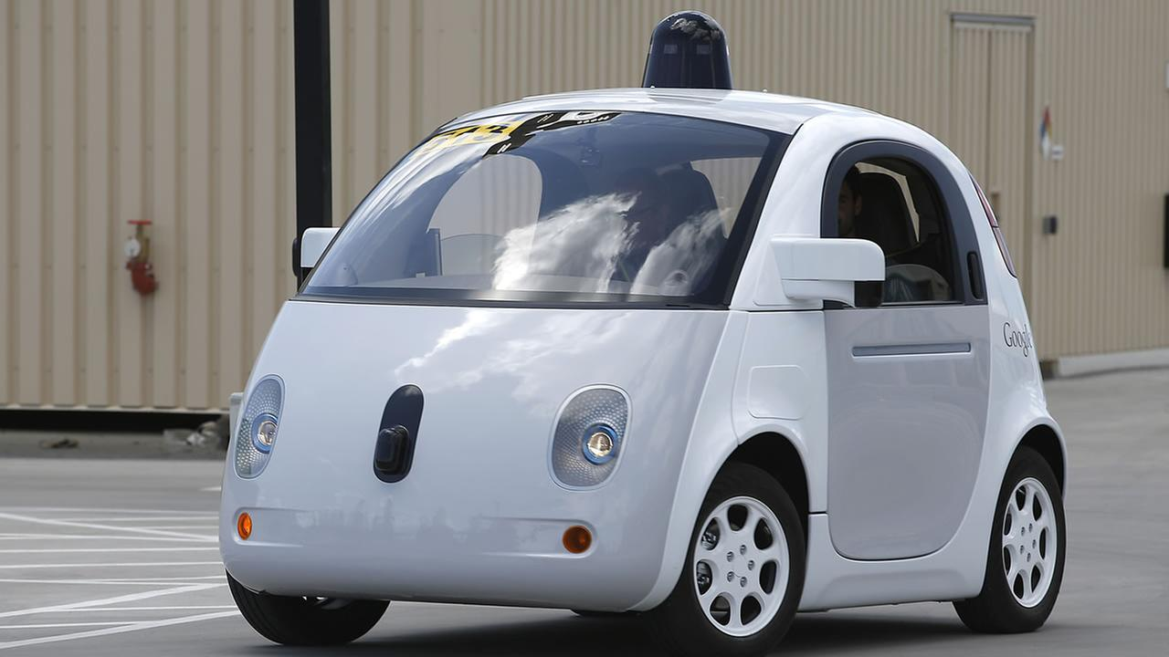 Googles new self-driving prototype car drives around a parking lot during a demonstration at Google campus on Wednesday, May 13, 2015, in Mountain View, Calif. (AP Photo)