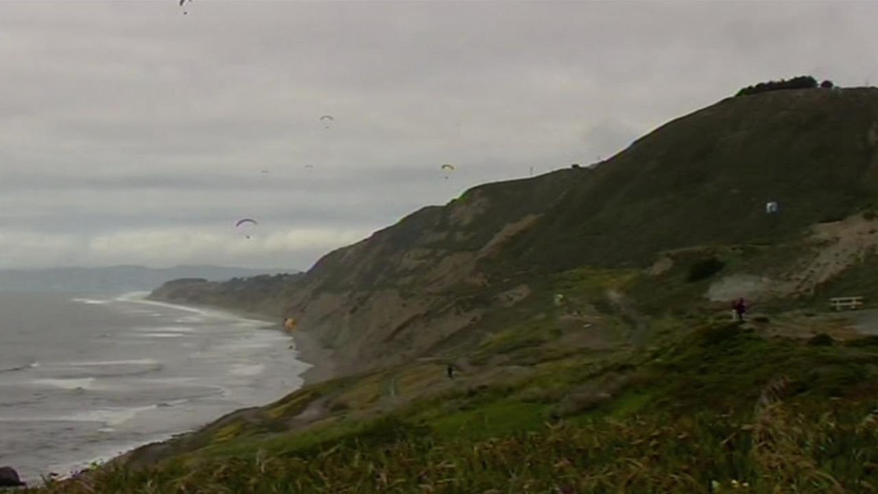 Officials say a paraglider died after colliding into a cliffside on Westline Drive near Mussel Rock Park Beach in Daly City on Sunday
