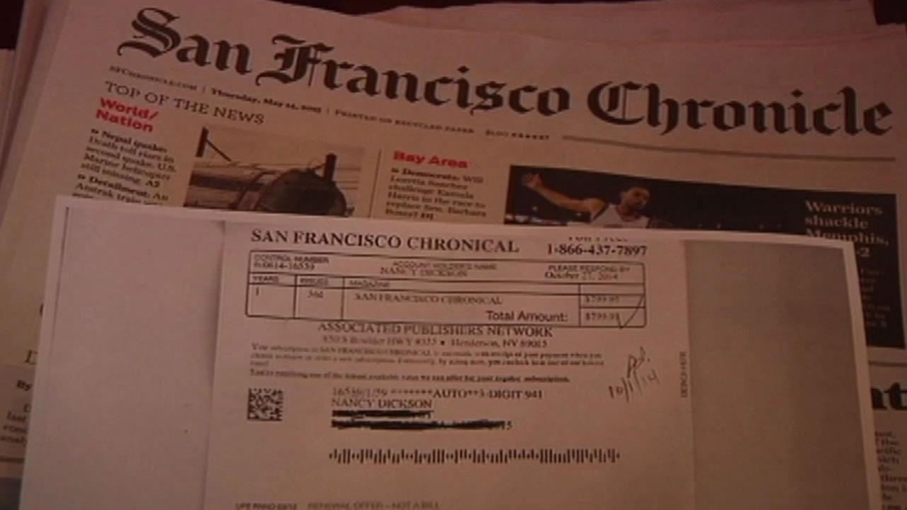 A San Francisco woman received a fake subscription renewal from a company claiming to renew her subscription to the San Francisco Chronicle.