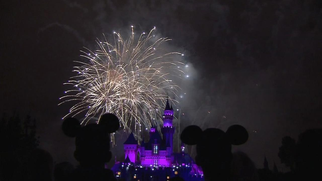 Kids enjoy fireworks display at Disneyland