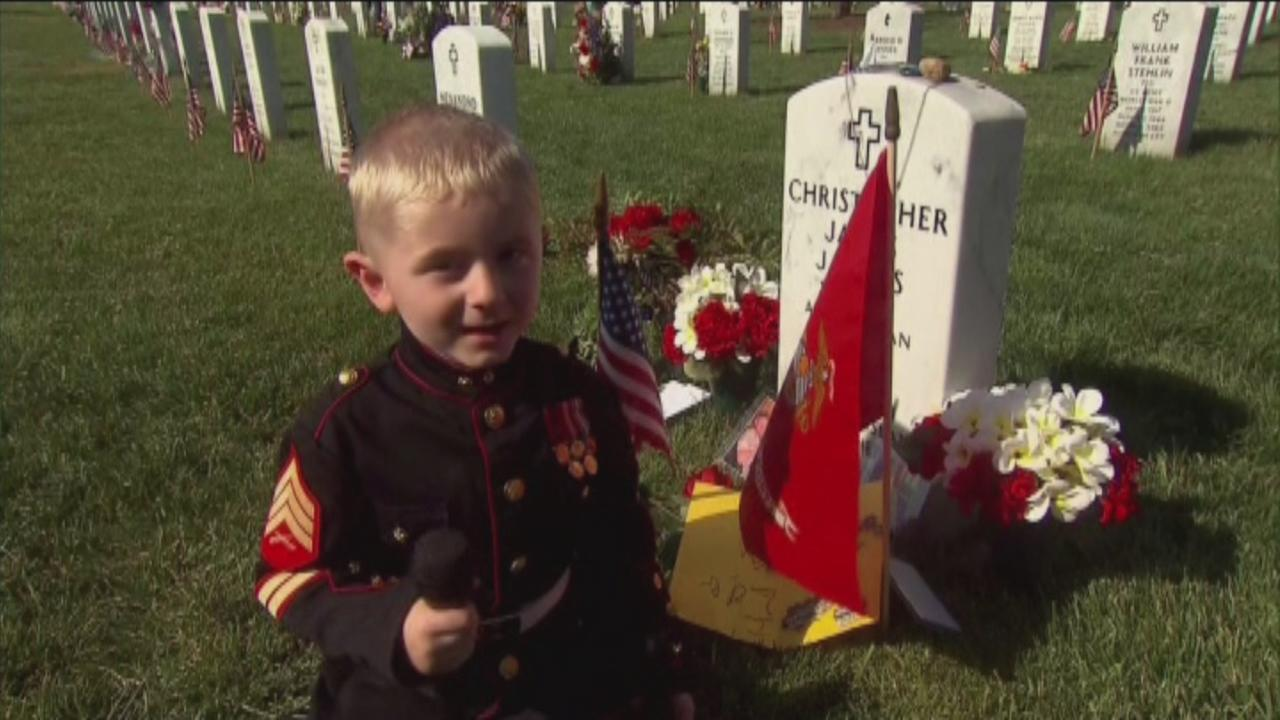 Boy remembers father at Arlington National Cemetery