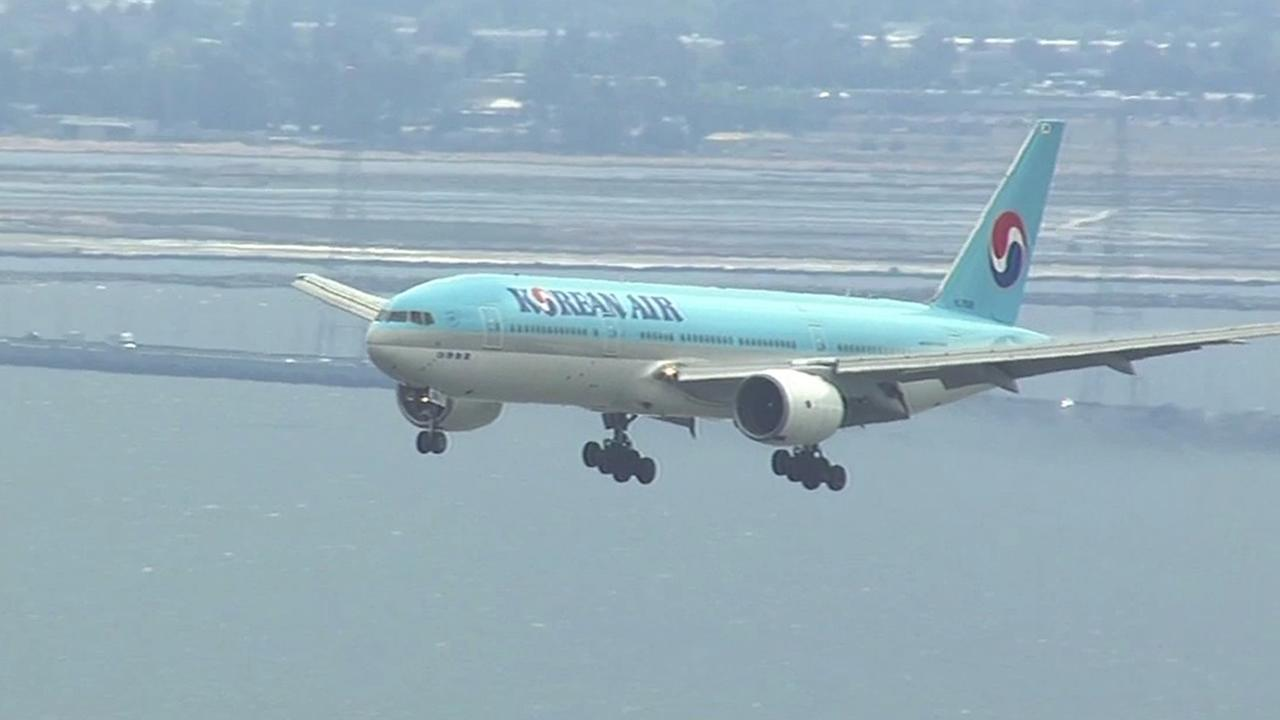 Korean Airlines Flight 23 landed safely at San Francisco International Airport after a bomb threat on Tuesday, June 2, 2015.