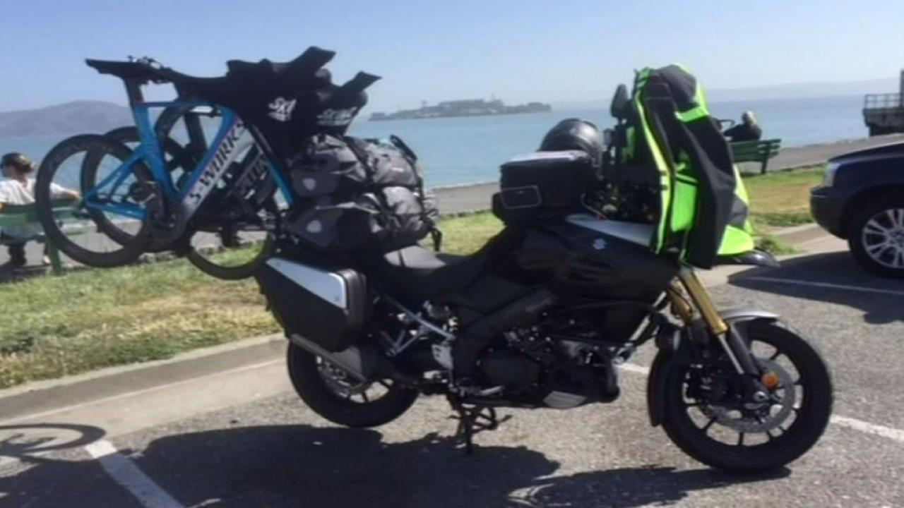 Police are investigating after someone allegedly stole two bikes that were locked onto a motorcycle rig outside a San Francisco hotel on Saturday, June 6, 2015.