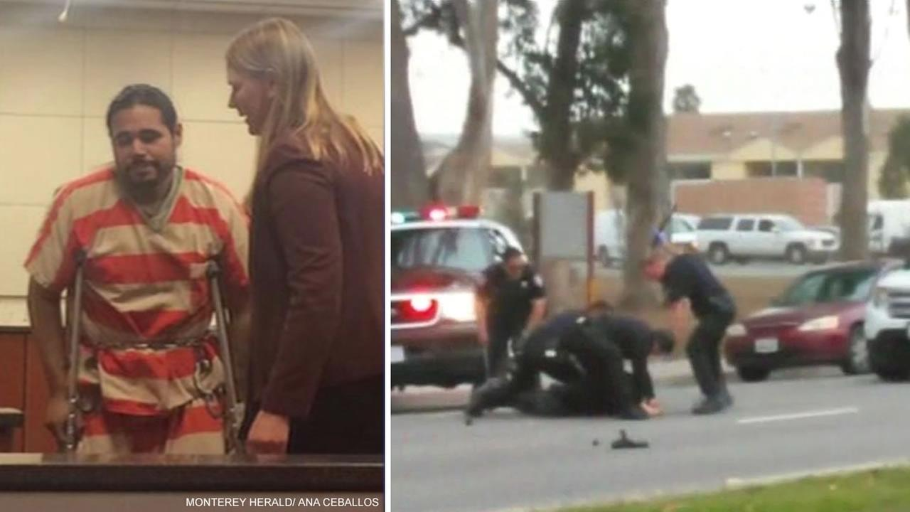 A split image of footage taken of a Salinas police beating on the right and the man, 28-year-old Jose Velasco, who was beaten and injured by officers.