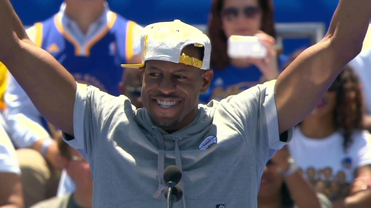 NBA Finals MVP Andre Iguodala gave credit to a loyal fan base during a victory rally in Oakland on Friday, June 19, 2015.